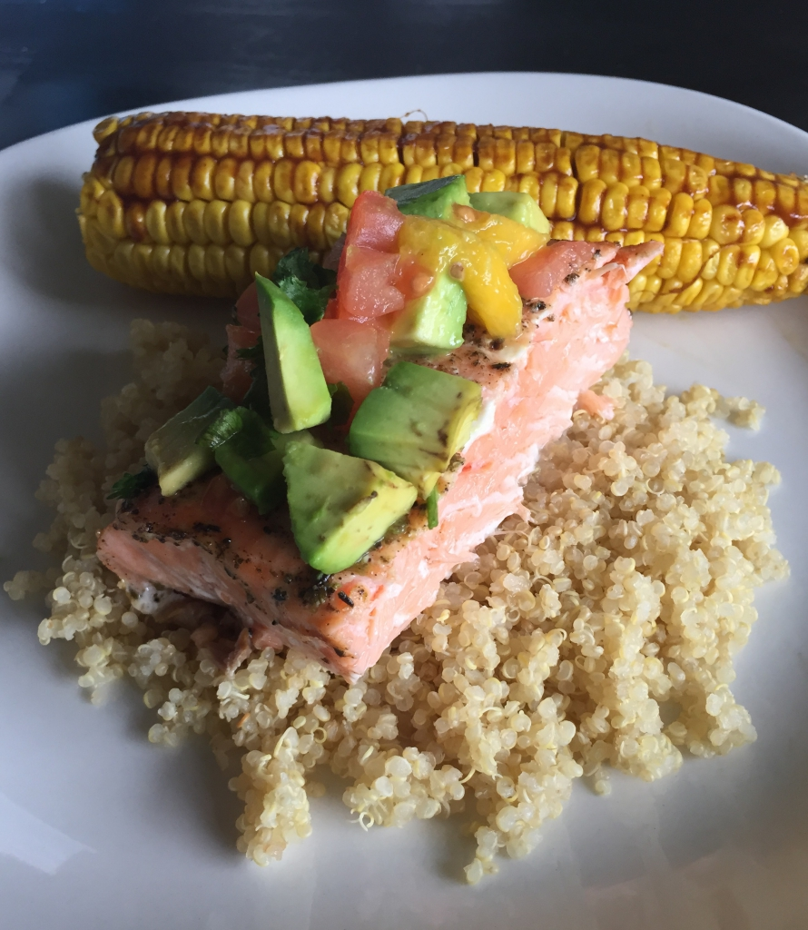 Baked Salmon with Mango and Avocado Salsa