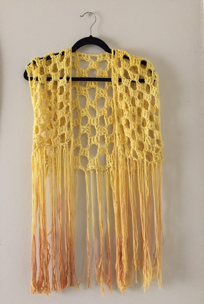 turmeric dyed vest with fringe