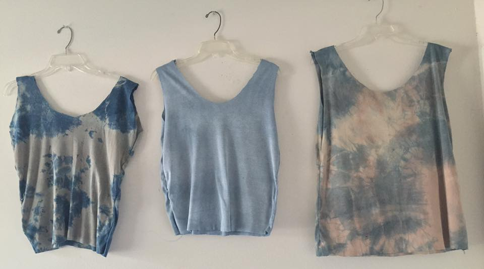 tanks dyed with indigo