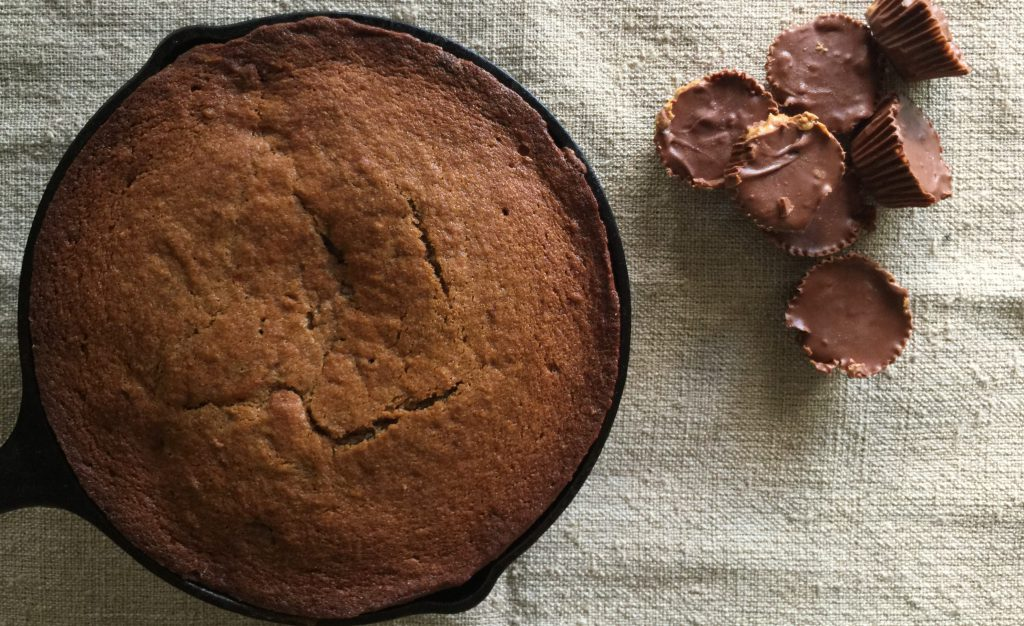 Cast Iron Skillet Banana Bread with Peanut Butter Cups