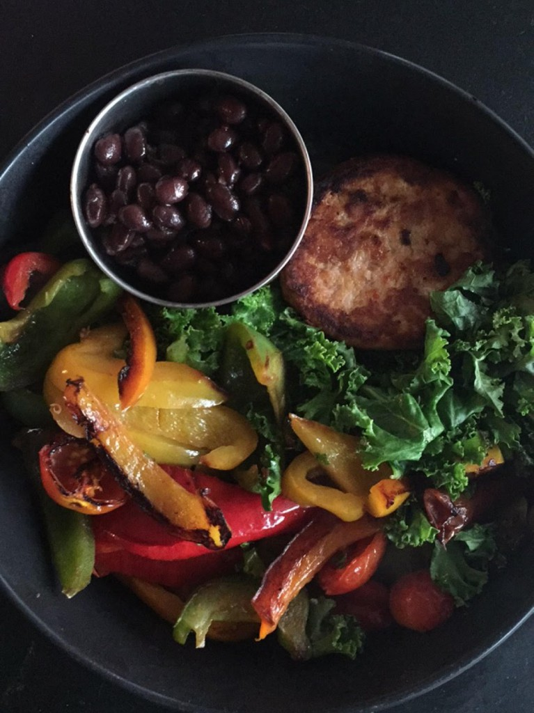 grilled veggies salmon burger and black beans